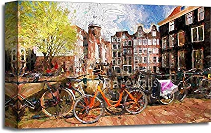 Amazon amsterdam city in holland artwork in painting style