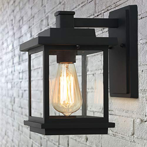 - LALUZ Exterior Light Fixtures Farmhouse Outdoor Wall Lantern in Black with Clear Glass for Porch Barn, A03156