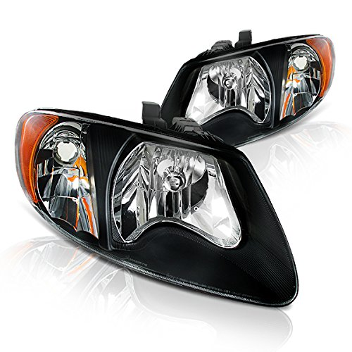 Instyleparts Dodge Caravan Chrysler Voyager Town and Country Clear Lens Headlights with Black Housing (Housing Voyager Headlight)