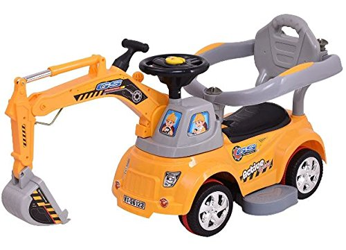 K&A Company Electric Ride Excavator Digger Sliding Car Pulling Cart With Remote Control New Yellow