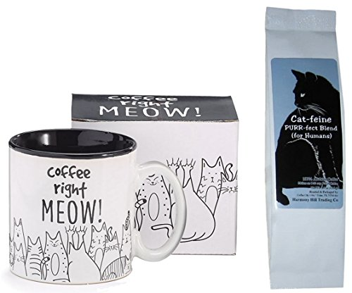 Cats Coffee Right Meow Coffee Mug Cup and Cat-feine Purr-fect Blend Coffee (for Humans) Gift Set Bundle (2 ()