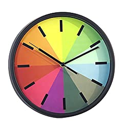Foxtop 10 inch Modern Colorful Silent Wall Clock for Living Room Bedroom Classroom Home Wall Decoration, Stylish for Easy Reading Non-ticking Wall Clock,Kids Rainbow Color Clock (Black-1)