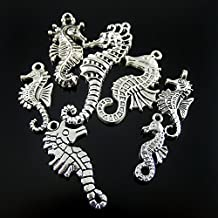 Julie Wang 28pcs Mixed Antiqued Silver Seahorse Charms Pendants for Jewelry Making