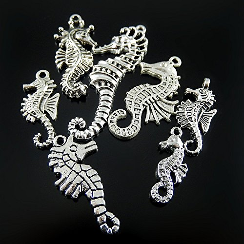 Julie Wang 28pcs Mixed Antiqued Silver Seahorse Charms Pendants for Jewelry Making (Charm Silver Seahorse)