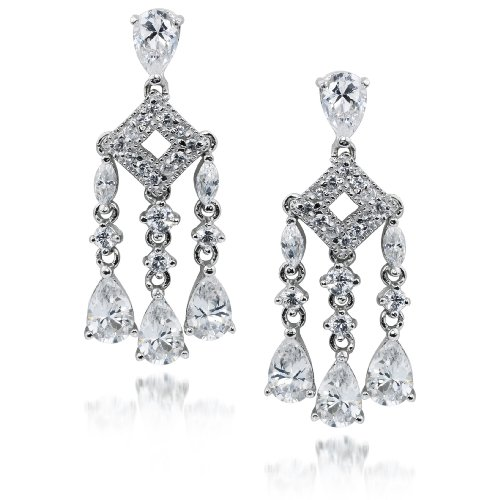Studio 925 Allison Cubic Zirconia Pave Sterling Silver Chandelier Earrings from Willow Company