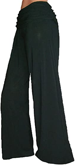 Funfash Plus Size Women Boot Gaucho Flare Long Black Palazzo Pants Made in  USA
