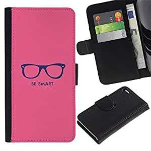 Leather Case Wallet Flip Card Pouch Soft Holder for Apple Iphone 4 / 4S / CECELL Phone case / / be smart hipster motivational pink /