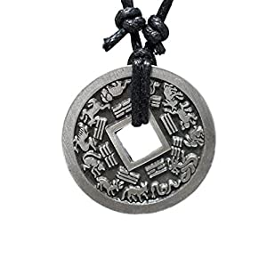 Chinese Lucky Coin Charm Pewter Pendant + Rope Necklace Adjustable - Zodiac