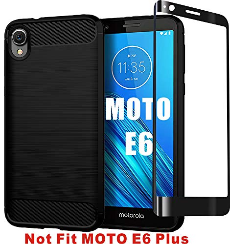 HNHYGETE Moto E6 Case with Tempered Glass Screen Protector Soft TPU Slim Anti Slip Full-Body Protective Phone Case Cover for Motorola Moto E6 (2019) 5.5