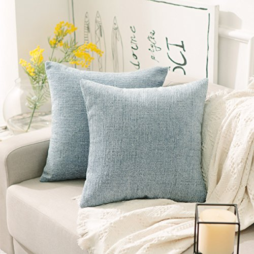 HOME BRILLIANT Cushion Cover for Chair Decor Striped Plush Chenille Velvet Supersoft Handmade Decorative Pillowcase, Set of 2, 18