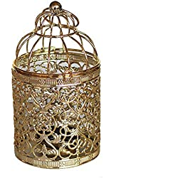Qingsun Metal Tealight Candle Holder Lanterns Creative Wedding Home Table Decoration Birdcage White (Golden)