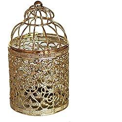 Qingsun Metal Tealight Candle Holder Lanterns Creative Wedding Home Table Decoration Birdcage White (Golden)