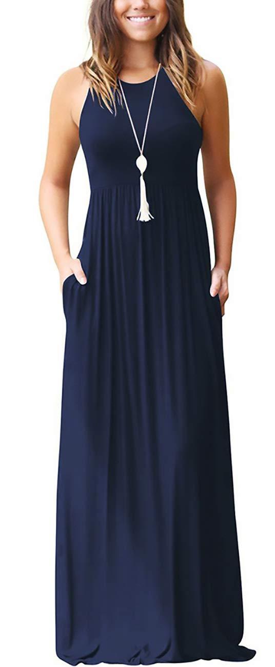 KORSIS Women's Summer Casual Loose Sleeveless Racerback Long Maxi Swing Dresses Pockets Navy Blue L