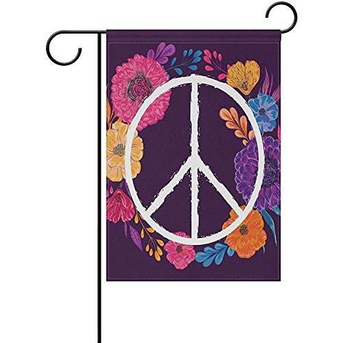 Hippie Peace Symbol with Flowers Leaves Print Garden Flag Custom Polyester Fiber Double-Sided Outdoor Decorative Flag(12 W x 18 H)