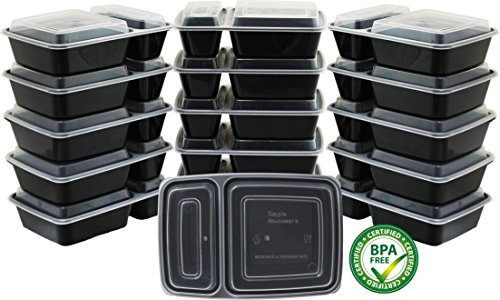 16 Pack SimpleHouseware 2 Compartment Container