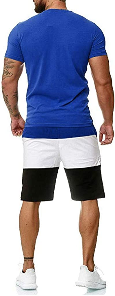 FORUU Mens Sport Set Summer Outfit 2020 Sale 2 Piece Set Short Sleeve T Shirts and Shorts Stylish Casual Sweatsuit Set Plus Size Best Tracksuit for Men Fashion Slim Fit Gift for Husband Fathers Day