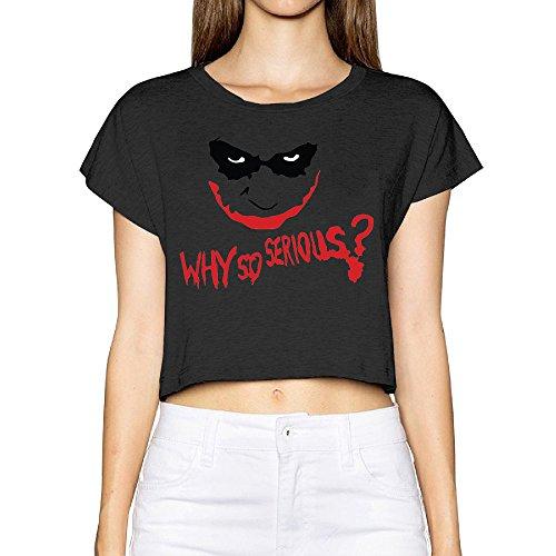 SAXON13 Women's Fashion Why So Joker Bare Midriff Short Sleeve Black Size XL
