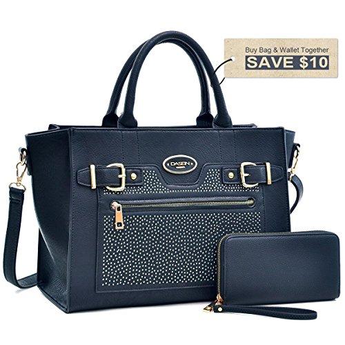 dasein-faux-leather-belted-medium-tote-satchel-shoulder-bag-6628168set-black