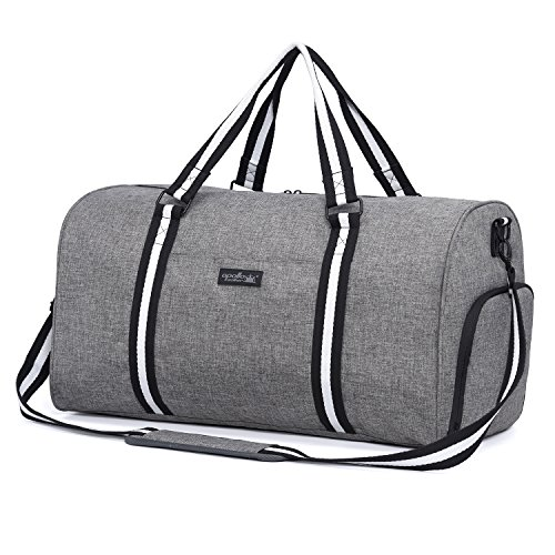 apollo walker Water Resistant Sports Gym Duffel Bag with Shoes Compartment Travel Weekender Bag for Men Women Grey