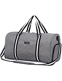Water Resistant Sports Gym Travel Weekender Duffel Bag with Shoe  Compartment Grey 2881073673c0f