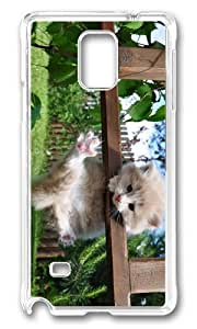 MOKSHOP Adorable Hanging Kitten Hard Case Protective Shell Cell Phone Cover For Samsung Galaxy Note 4 - PC Transparent