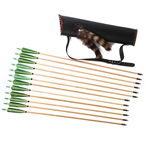 Fur Quiver - PG1ARCHERY 12 Pack Archery Green Wooden Arrows and Quiver Set, Targeting Arrows Fletched 5