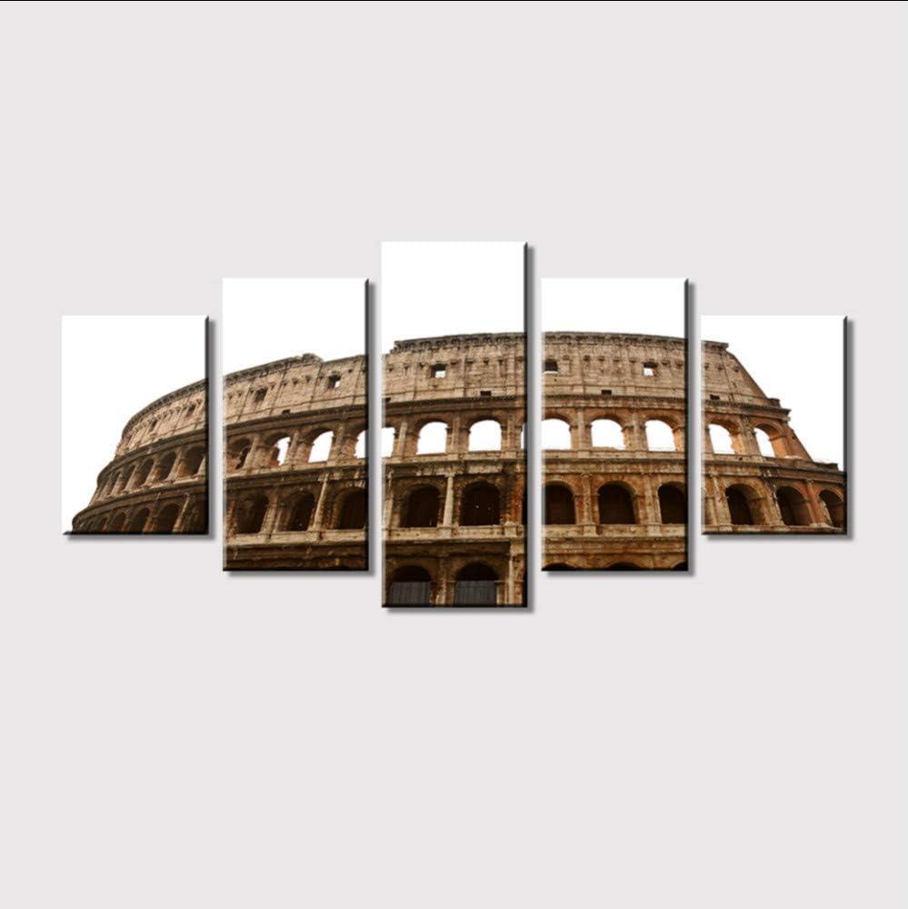 myvovo (Sin Marco) Imagen de Lienzo de Arte Modular Coliseo de 5 Paneles en Roma Fotografía Sala de Estar Cartel Pintura de la Pared Decoración para el hogar Imagen: Amazon.es: Hogar
