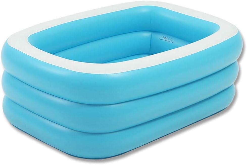 FuManLi Bañera de natación portátil Centro de natación Piscina Inflable para niños con Bomba de Aire eléctrica, Tina de baño Home SPA para Adultos, Tina de baño Plegable, Azul y Blanco (Tamaño : L)