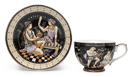 Amazing Porcelain 12pc Versace-inspired Tea Set, 6 Greek Pattern Mugs (Versace China Plates)