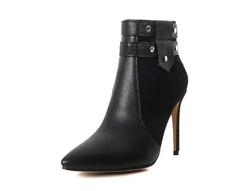OCHENTA Women s Velvet Leather Stitching Pointed Toe 10.5 cm Heels Ankle  Boots UK 2.5-10  Amazon.co.uk  Shoes   Bags bb8b59818c2f