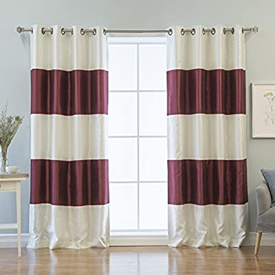 "Best Home Fashion Striped Dupioni Faux Silk Blackout Curtain - Antique Bronze Grommet Top - Burgundy - 52"" W x 84"" L - (Set of 2 Panels) - Elegant and sophisticated Dupioni Faux Silk Blackout curtains are a luxurious addition to your home decor Blackout lining features an innovative triple weaved fabric for thermal insulated blackout curtains Ideal for late sleepers and shift workers, this curtain set blocks out light and insulates against the heat and cold - living-room-soft-furnishings, living-room, draperies-curtains-shades - 51xYQN WQkL. SS400  -"