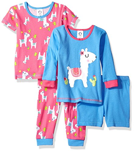 Girls Pajamas Pjs - Gerber Baby Girls 4 Piece Pajama Set, Llama, 18 Months