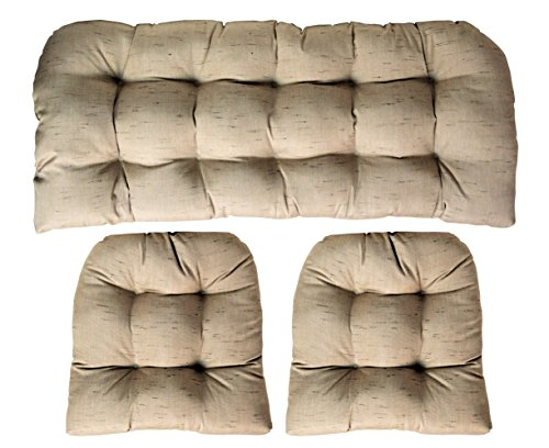 (Sunbrella Frequency Sand 3 Piece Wicker Cushion Set - Indoor / Outdoor Wicker Loveseat Settee & 2 Matching Chair Cushions - Linen Look Tan / Beige)