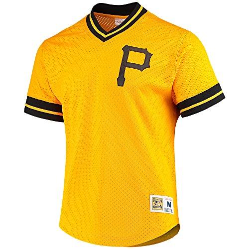 Ness Mlb Baseball Jersey - Mitchell And Ness Pirates Yellow Mesh Vneck Jersey Yellow/Black M