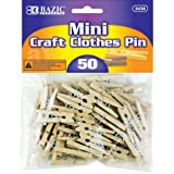 (1) - BAZIC Mini, Natural Clothespins, Wood, 50 per Pack