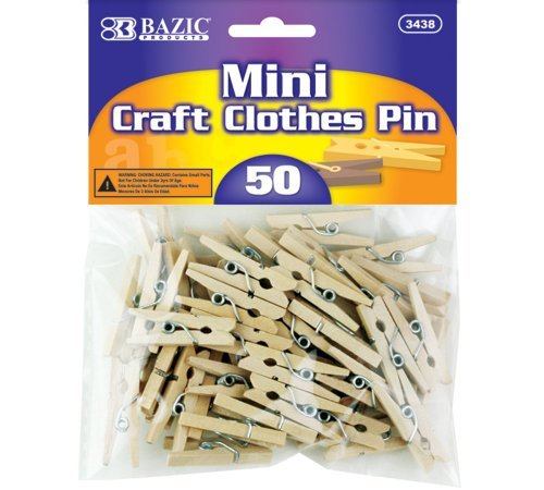 BAZIC Mini, Natural Clothespins, Wood, 50 Per -