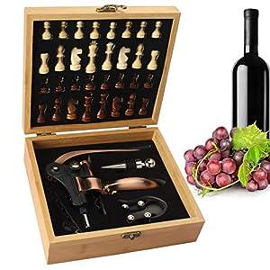 Yobansa Scatola di bambù Set di Accessori per Il Vino, Set di Accessori per Il Vino - Include cavatappi per Vino di Coniglio, Tappo per Vino, Set di Scacchi in Legno(0F) 1 spesavip