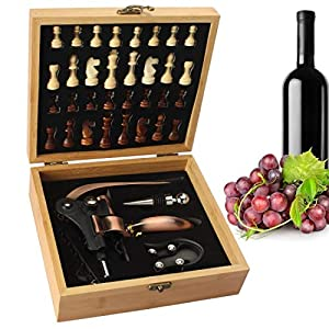 Yobansa Scatola di bambù Set di Accessori per Il Vino, Set di Accessori per Il Vino - Include cavatappi per Vino di… 14 spesavip
