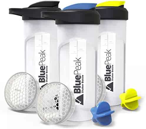 BluePeak Protein Shaker Bottle 28-Ounce, 3-Pack, with Dual Mixing Technology. BPA Free, Shaker Balls & Mixing Grids Included