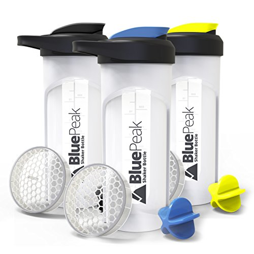 BluePeak Protein Shaker Bottle 28-Ounce, 3-Pack, with Dual Mixing Technology. BPA Free, Shaker Balls & Mixing Grids Included (Yellow, Blue & Black) by BluePeak