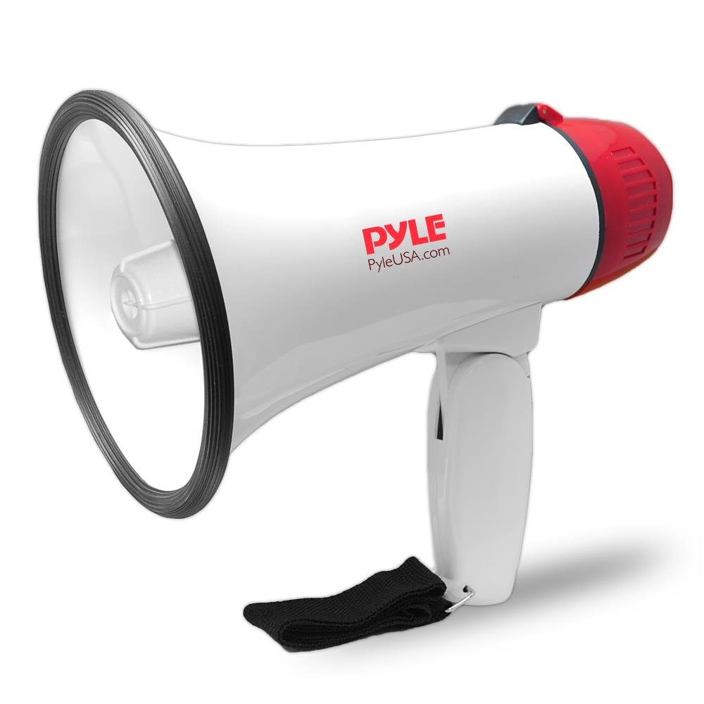 Pyle Megaphone Speaker PA Bullhorn - Built-in Siren, Adjustable Volume Control and 800 Yard Range - Ideal for Football, Soccer, Hockey and Basketball Fans and Coaches or for Safety Drills - PMP30
