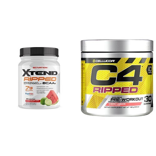 Scivation Xtend Ripped BCAA Powder, Watermelon Lime, 30 Servings + Cellucor C4 Ripped Pre Workout Powder + Fat Burner, Cherry Limeade, 30 Servings