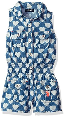 U.S. Polo Assn. Little Girls' Sleeveless Heart Print Denim Romper, Medium Wash, 6X