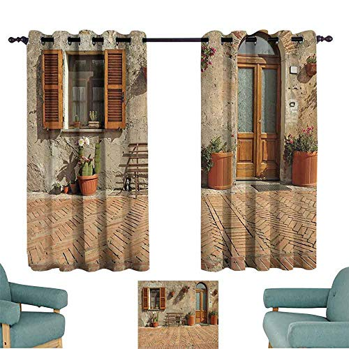 DILITECK Decorative Curtains for Living Room Tuscan Decor Collection Medieval Facade Italian Rustic Wooden Door Brick Wall in Small Village Light Blocking Drapes with Liner W63 xL72 Peru Salmon ()