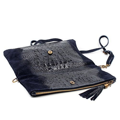 Bag Envelope Wedding Clutch Real Bag Bag Leather Occasion Shoulder Dark Aossta Suede Croc Grey vw6g4S0