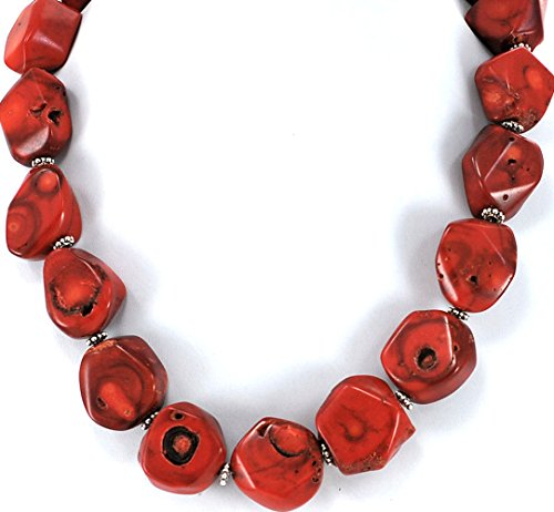 - Large Bamboo Coral Nugget Beads Necklace with Silver Tone Toggle Clasp 18