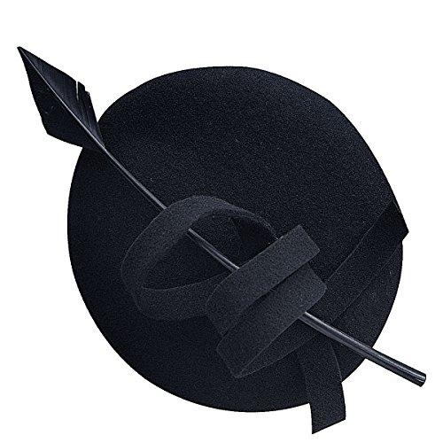 - Ladies Curly Feather Felt Wool Fascinator Pillbox Tilt Cocktail Formal Hat A145 (Black)
