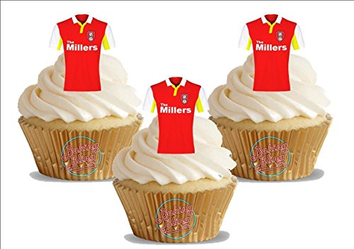 fan products of 12 x Rotherham United FC Soccer Shirts - Choose From UNFLAVOURED or VANILLA-SWEETENED Toppers - Fun Novelty Birthday PREMIUM STAND UP Edible Wafer Card Cake Toppers Decorations (Unflavoured)