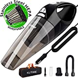 KUTIME Corded Car Vacuum Cleaner High Power Wet Dry Vac with LED Light, DC 12v Portable Vacuum Cleaner for Car with 16.4 Feet Power Cord, Stainless Steel HEPA (Grey) For Sale