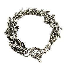 6c20699be5e7 OVALBUY Exquisita Pulsera de dragón de aleación de Plata